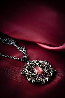 Photograph - Brass Pendant With Red Gem by Jaroslaw Blaminsky