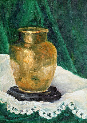 Painting - Brass Potpourri Pot by Jill Musser
