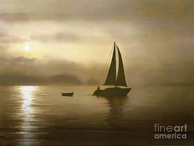 Round Lake Painting - Brass Sail by Robert Foster