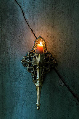 Photograph - Brass Sconce Hanging On A Cracked Plaster Wall by Eleanor Caputo