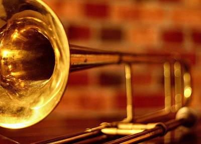 Trombone Photograph - Brass Trombone by David  Hubbs