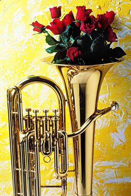 Red Roses Photograph - Brass Tuba With Red Roses by Garry Gay