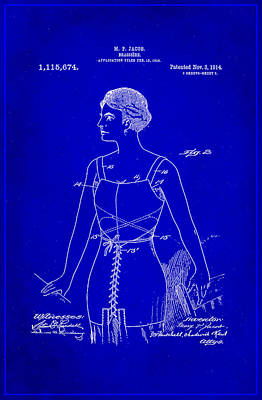 Swimsuit Mixed Media - Brassiere Patent Drawing 1e by Brian Reaves