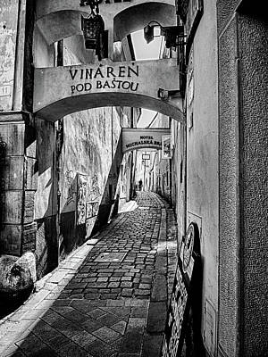 Photograph - Bratislava Alley Bw by C H Apperson