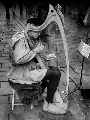 Photograph - Bratislava Busker Harpist Bw by C H Apperson