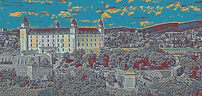 Blue Painting - Bratislava Castle Travel Poster by Celestial Images