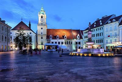 Photograph - Bratislava Old Town Main Market Square At Night by Artur Bogacki