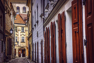 Framed Old Town Door Photograph - Bratislava's Medieval Old Town by Carol Japp