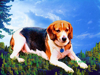 Painting - Bravo The Beagle by KLM Kathel