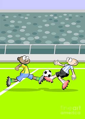 Ball Digital Art - Brazil And Argentina Face In A Soccer Match by Daniel Ghioldi