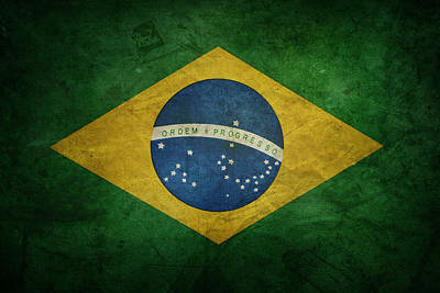 Brazil Flag Art Print by Les Cunliffe