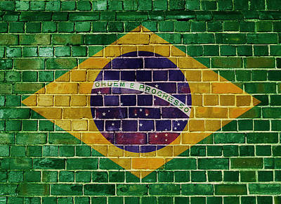 Digital Art - Brazil Flag On A Brick Wall by Steve Ball