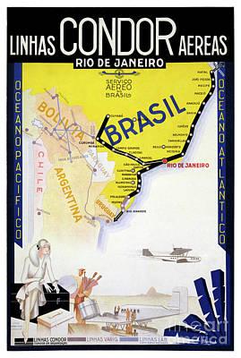Airways Mixed Media - Brazil Rio Vintage Travel Poster Restored by Carsten Reisinger