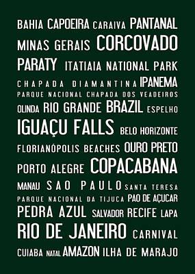 Brazil Typographic Poster Green Art Print
