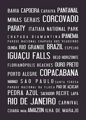 Winter Animals - Brazil, typographic poster, grey by Eazudesign A
