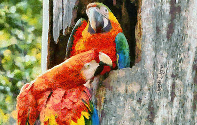 Macaw Painting - Brazilian Arara At Home - Monet Style by Leonardo Digenio