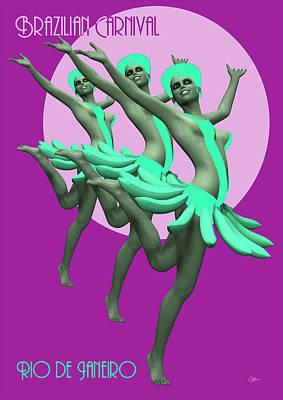 Bossa Nova Drawing - Brazilian Carnival by Quim Abella