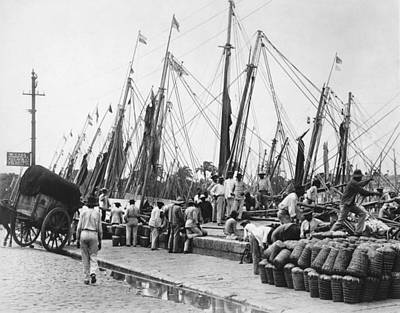 Blue Collar Photograph - Brazilian Dock Scene by Underwood Archives