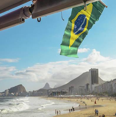 Photograph - Brazilian Flag At Copacabana, Rio De Janeiro, Brazil by Alexandre Rotenberg