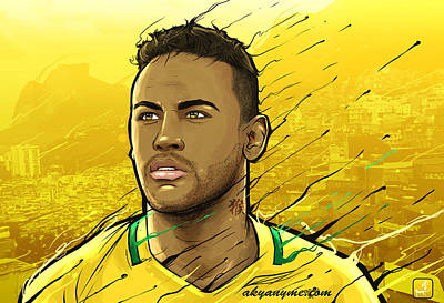 Soccer Digital Art - Brazilian Gold Rio Janeiro by Akyanyme