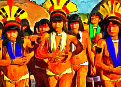 Joyful Painting - Brazilian Indian Girls - Pa by Leonardo Digenio