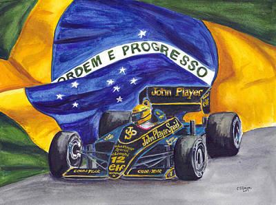 Painting - Brazil's Ayrton Senna by Clara Sue Beym