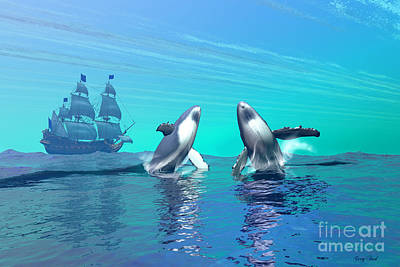 Humpback Whale Painting - Breaching by Corey Ford