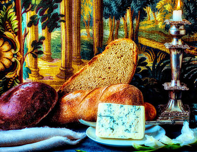 Tapestries Textiles Photograph - Bread And Cheese Still Life by Garry Gay