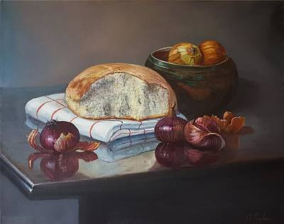 Wall Art - Painting - Bread And Onions by Oleg Riabchuk