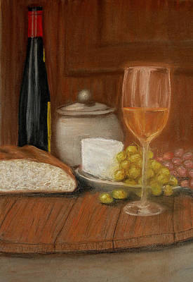 Pastel - Bread And Wine by Barbara J Blaisdell
