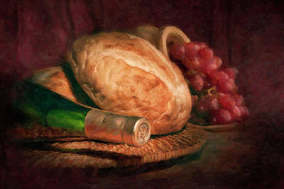 Still Life Photograph - Bread And Wine by Tom Mc Nemar