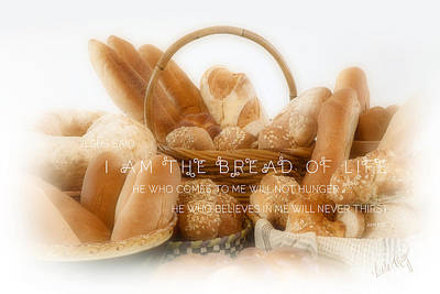 Linda King Photograph - Bread Arrangement #2 - With Scripture by Linda King