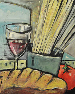 Painting - Bread Pasta Wine by Tim Nyberg