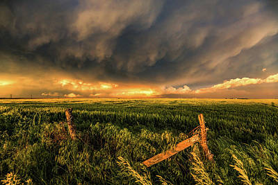 Prairie Sunset Wall Art - Photograph - Breadbasket - Old Fence And Stormy Sky In Kansas by Sean Ramsey