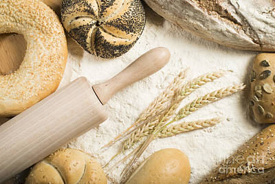 Photograph - Breads. Pile Of Flour, Rolling Pin And Wheat by Deyan Georgiev