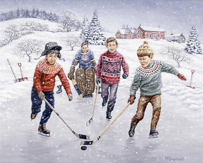 Pond Hockey Painting - Breakaway by Richard De Wolfe