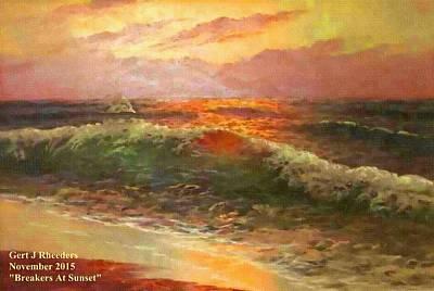 Breakers At Sunset H A Art Print by Gert J Rheeders