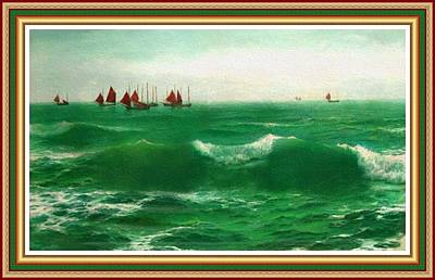 Creative Charisma - Breakers Near The Shore. L B With Decorative Ornate Printed Frame. by Gert J Rheeders