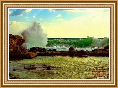 Rocks. Tidal Pool Painting - Breakers On The Rocks No. 2 L A With Alt. Decorative Ornate Printed Frame. by Gert J Rheeders