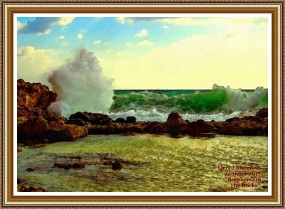 Rocks. Tidal Pool Painting - Breakers On The Rocks No. 2 L A With Decorative Ornate Printed Frame. by Gert J Rheeders