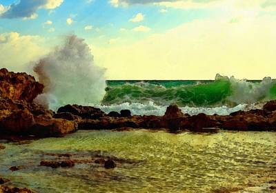 Rocks. Tidal Pool Painting - Breakers On The Rocks No. 2 L B by Gert J Rheeders