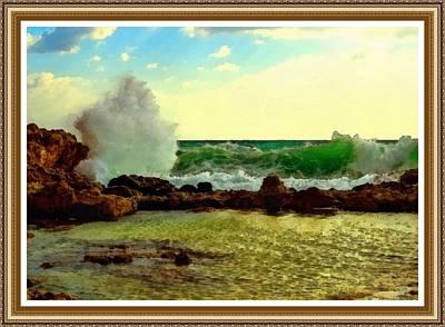 Rocks. Tidal Pool Painting - Breakers On The Rocks No. 2 With Decorative Ornate Printed Frame. by Gert J Rheeders