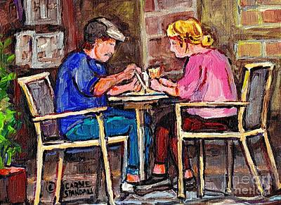 Painting - Breakfast At The Bistro Paris Style Cafe Original Quebec Art Carole Spandau by Carole Spandau