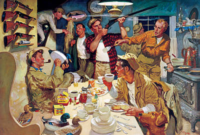 Hunting Painting - Breakfast At The Hunting Cabin by Dwyer