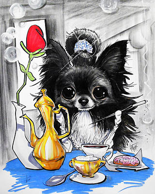 Canines Drawing - Breakfast At Tiffany's Papillon Caricature Art Print by John LaFree