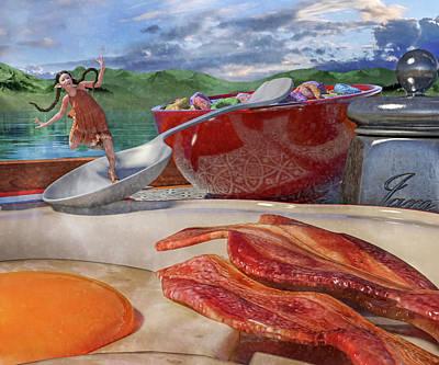 Surrealism Digital Art - Breakfast Beeline to Bacon by Betsy Knapp