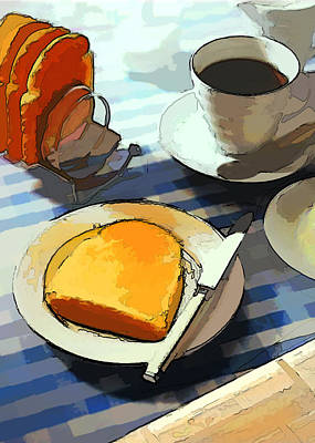 Computer Art Painting - Breakfast Coffee by Elaine Plesser