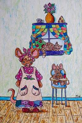 Drawing - Breakfast For Baby Mouse by Megan Walsh