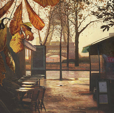 Sunset Painting - Breakfast In Paris by Helen Parsley