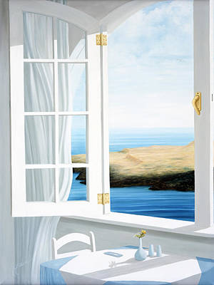 Life Painting - Breakfast In Santorini, Prints Available. by Mary Grden Fine Art Oil Painter Baywood Gallery
